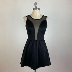 For Love & Lemons Mesh Black Insert Skater Dress